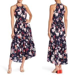 Eliza J Navy Tropical Floral Halter Hi Low Dress